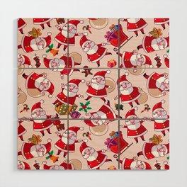 Santa Gift Pattern Wood Wall Art