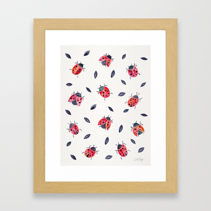 Lucky Ladybugs & Black Leaves Framed Art Print
