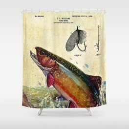 Vintage Trout Fly Fishing Lure Patent Game Fish Identification Chart Shower Curtain