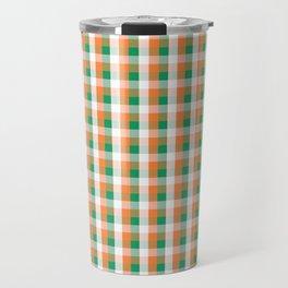Orange White and Green Irish Gingham Check Plaid Travel Mug