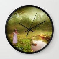 fairy tale Wall Clocks featuring Fairy Tale by Susann Mielke