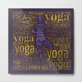 Yoga Pattern around Asana in Gold and Purple Metal Print
