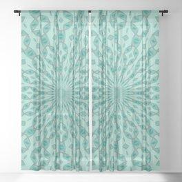 Yukka Green and Pink Hint Kaleidoscope Sheer Curtain