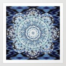 Blue Ikat Mandala Art Print