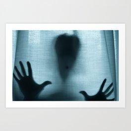 Figure behind a curtain Art Print