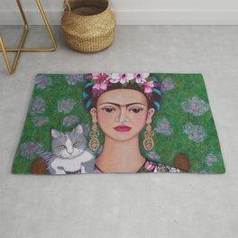 Frida cat lover closer Rug