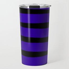 Blue Violet Indigo Ombre Stripes - Black Travel Mug