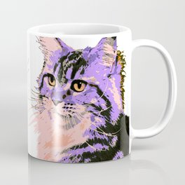 Maine Coon Cat Purple/Peach/Black Coffee Mug
