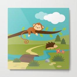Monkey in the jungle , nursery decor Metal Print