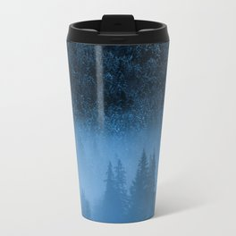 Magical fog over snowy spruce forest Travel Mug