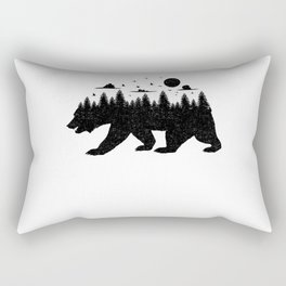 Bear Forest T Shirt Grizzly Silhouette Motif Nature Fusion Rectangular Pillow