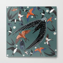Swallows Martins and Swift pattern teal Metal Print