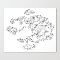 avatar the last airbender Canvas Prints featuring Avatar the Last Airbender: Map (Line) by ChemicalCurve