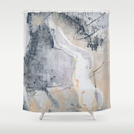 As Restless as the Sea: a minimal abstract painting by Alyssa Hamilton Art Shower Curtain