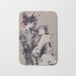 Vintage Lovely Couple Abstract Poker Papers Art Painting. Bath Mat