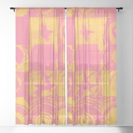 Color Explosion Yellow and Pink Version Sheer Curtain