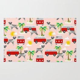 Schnauzer mini van hippie van palm tree tropical summer dog breed pattern Rug
