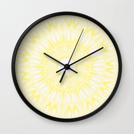 Lemon Yellow Kaleidoscope Wall Clock