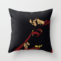 man of steel Throw Pillows featuring Man of Steel by Digital Sketch