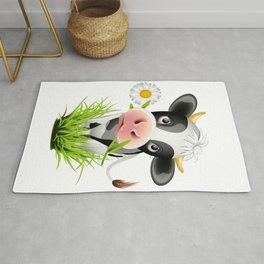 Cute Holstein cow in grass Rug