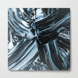 Abstract Chrome Silver Paint II Metal Print