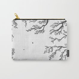 tree branches with birds and leaves on a light background Carry-All Pouch