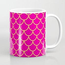 Mermaid Scales Pattern in Pink. Gold Scallops. Pink Coffee Mug