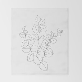 Minimalistic Eucalyptus  Line Art Throw Blanket
