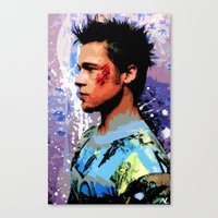 brad pitt Canvas Prints featuring Brad Pitt Art Poster by NLopezArt