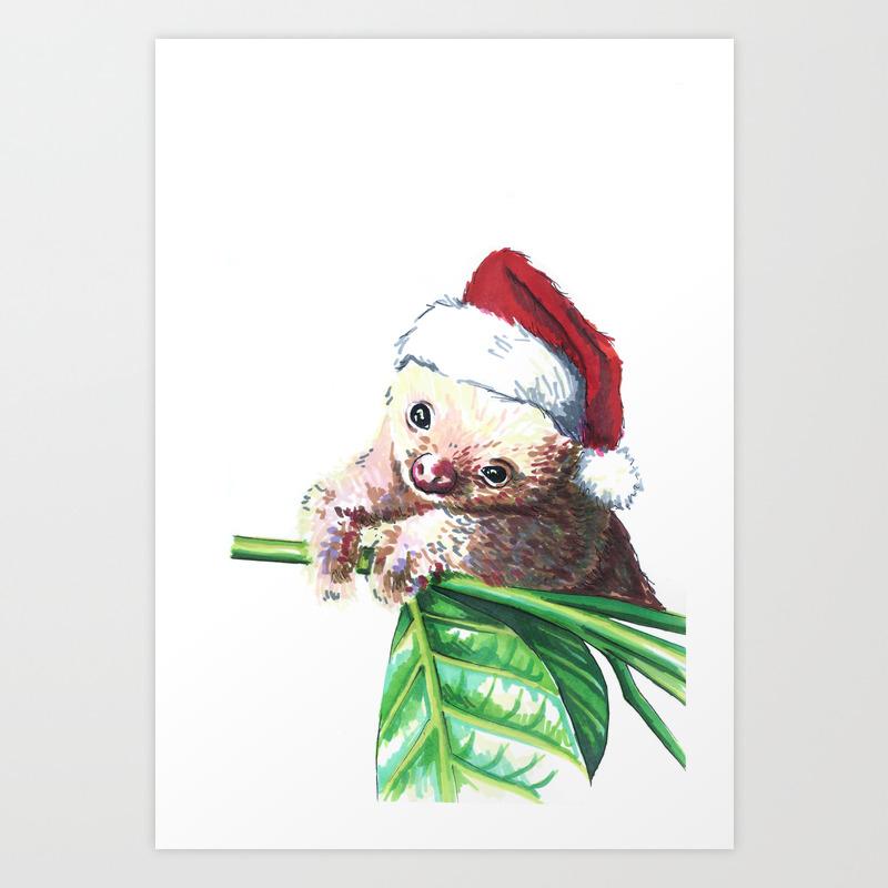 Christmas Sloth.Christmas Sloth Art Print