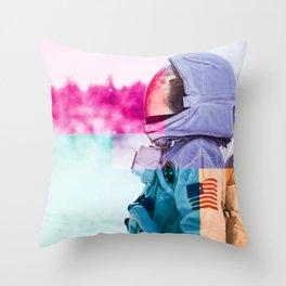 Cosmonaut double exposure 2 Throw Pillow