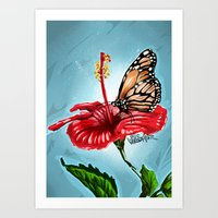 Butterfly on flower 2 Art Print
