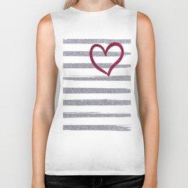 Red Heart on Shiny Silver Stripes Biker Tank