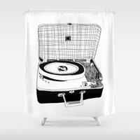 record Shower Curtains featuring Record Player by Paul McCreery