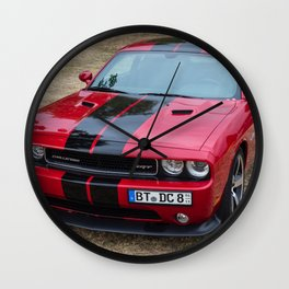 Red Challenger RT Hemi at the 5th US-Carshow, Germany color photograph / photography / poster Wall Clock