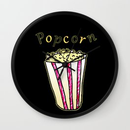 Popcorn: Black Wall Clock