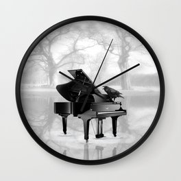 Crow on Grand Piano in Water, Musical Interlude A225 Wall Clock