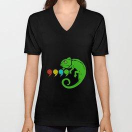 Chameleon Colorful Comma Reptiles Lizards Iguana Unisex V-Neck