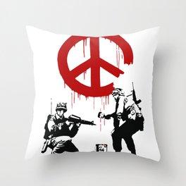 Soldiers Painting Peace Symbol, Banksy, Streetart Street Art, Grafitti, Artwork, Design For Men, Wom Throw Pillow