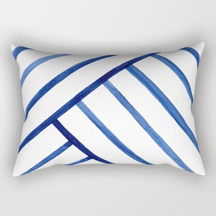 Watercolor lines pattern | Navy blue Rectangular Pillow