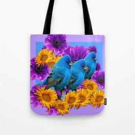 THREE BLUE BIRDS SUNFLOWER ANEMONE GARDEN Tote Bag