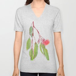 Flowering Silver Princess Eucalyptus Watercolour Unisex V-Neck