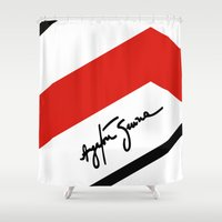 senna Shower Curtains featuring Ayrton Senna Mclaren Honda Formula 1 by Krakenspirit