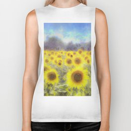 Sunflower Fields Of Dreams Art Biker Tank