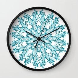 Turquoise Blue Mandala Wall Clock