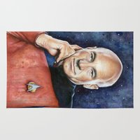 picard Area & Throw Rugs featuring Captain Picard by Olechka