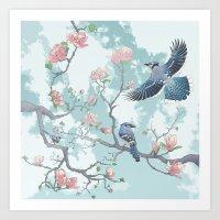 Blue Jays in a Magnolia Tree Art Print