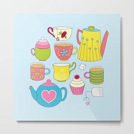 Teapots, cupcakes & more Metal Print