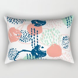 Abstract coral mint navy modern color palette basic canvas art for home Rectangular Pillow