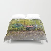 jeep Duvet Covers featuring Permanent Fixtures by Alaskan Momma Bear